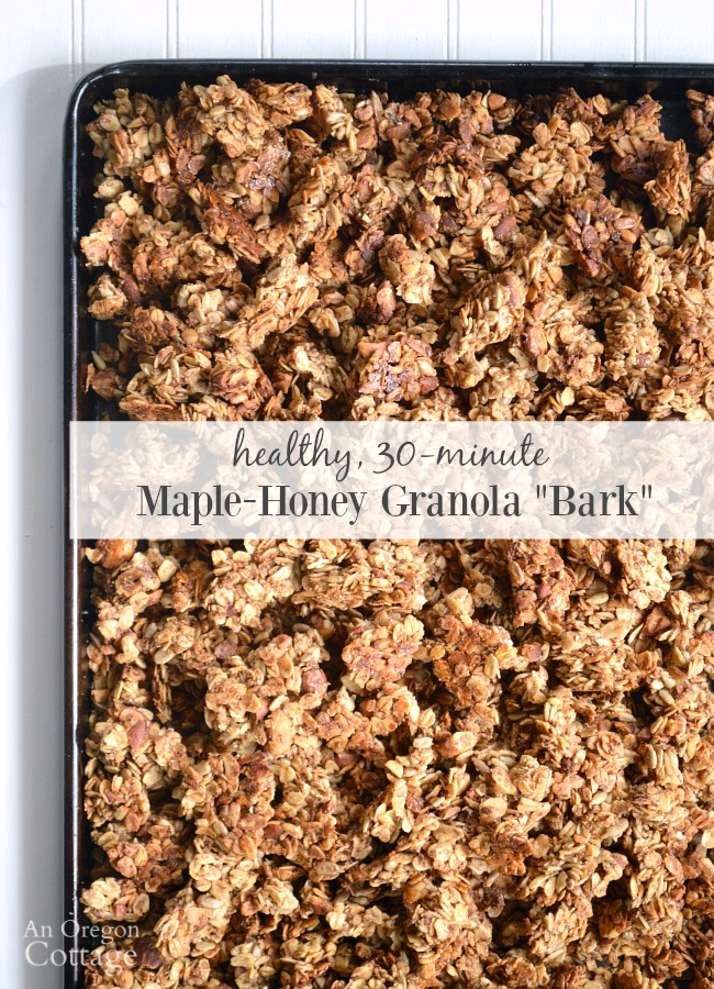 30 minute Maple-Honey Granola uses less natural sweeteners, is the easiest granola you've ever made and tastes amazing. It will become your go-to granola recipe!