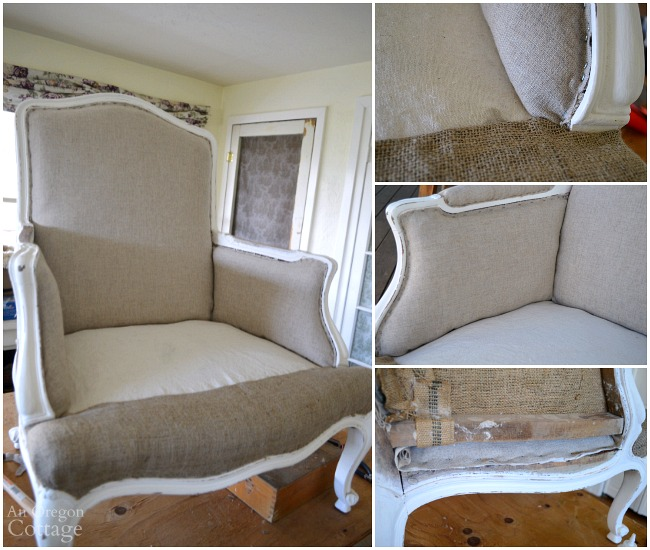 1970s French Chair Makeover-upholstering inside