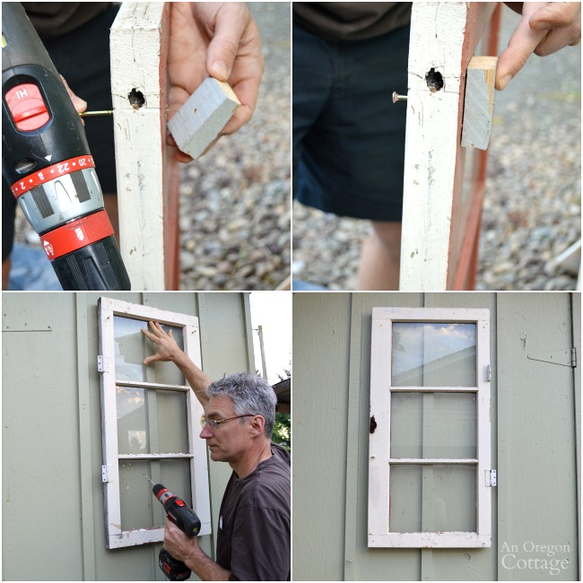 Quick Garden Shed Makeover-Applying vintage window to board-and-batten siding