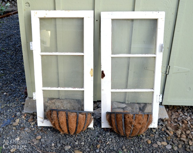Quick Garden Shed Makeover-windows and baskets