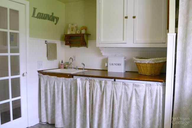 Cottage Farmhouse Laundry-Mudroom Makeover after