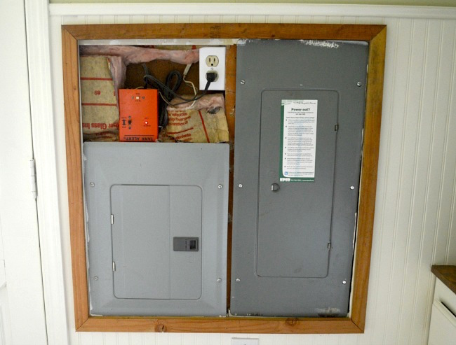 Mudroom beadboard electrical panel cover framed