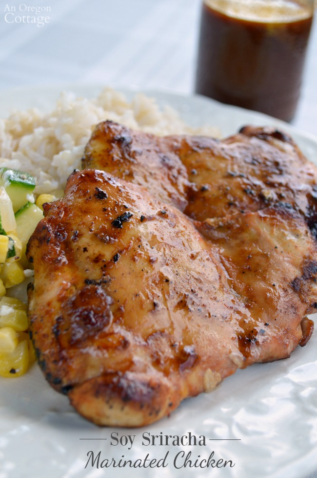 Soy Sriracha Marinated Chicken is an easy 3 ingredient dish for both grilling and baking.