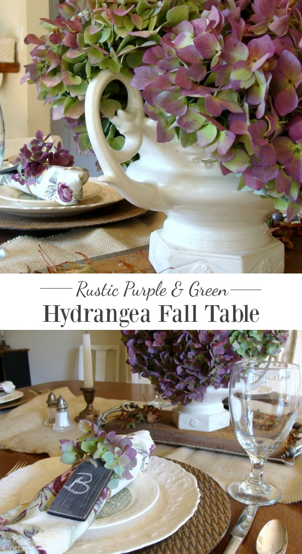 Rustic Purple and Green Hydrangea Fall Tablescape that combines classic white china with texture and glorious fall hydrangeas. This is a use-what-you-have easy table to put together!