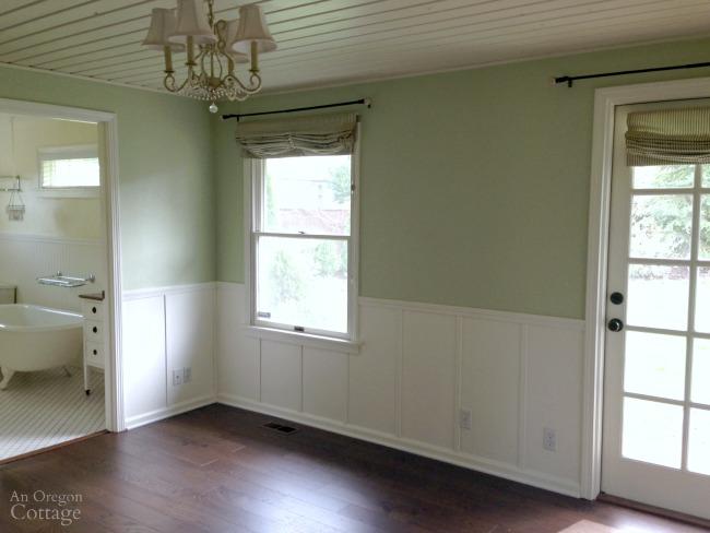Empty farmhouse master bedroom