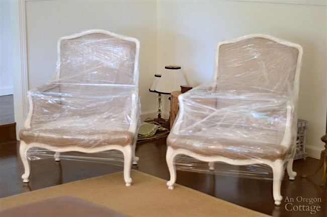 Packing-French chairs wrapped in plastic