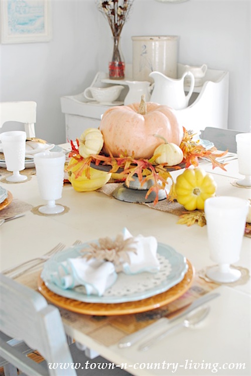 Simple-Thanksgiving-Table-Setting via Town and Country