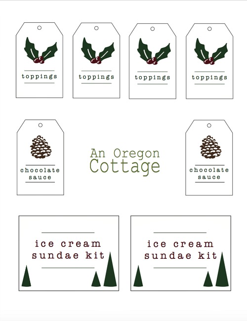 Ice Cream Sundae Kit Printable Tags