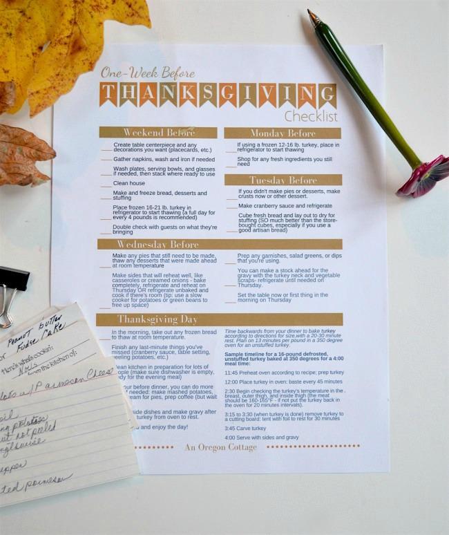 Thanksgiving week checklist