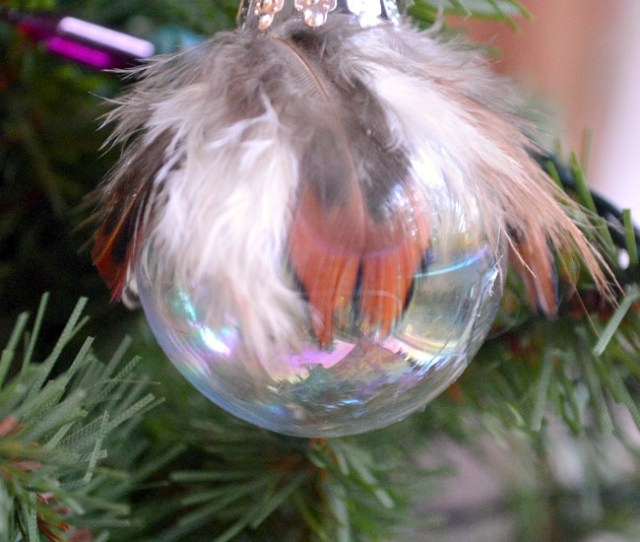 Make A Unique Pottery Barn Knockoff Feather And Glass Ball Christmas Ornaments For A Fraction Of