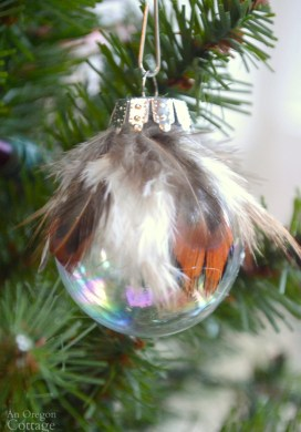 Simple Feather & Glass Ball Christmas Ornament DIY