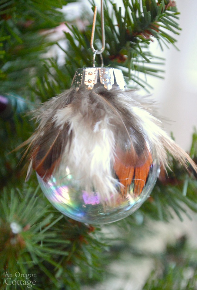 Simple & unique feather and ball Christmas Ornament DIY