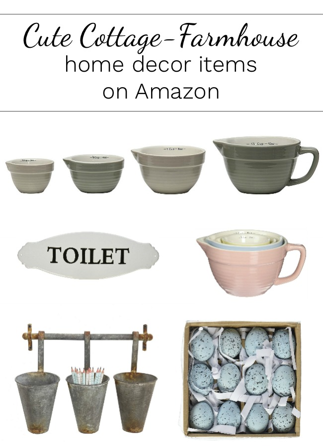 Cute Cottage-Farmhouse home decor items found on Amazon