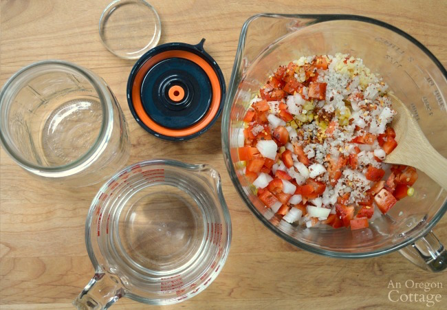 Mixing ingredients for easy Fermented Corn Relish