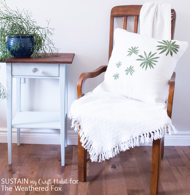 DIY Leaf-Stamped Outdoor Pillow Covers at The Weathered Fox