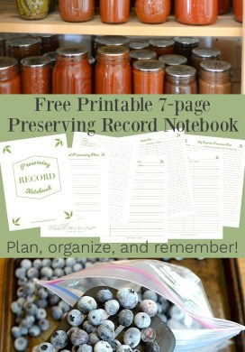 Free Printable Preserving Record Notebook