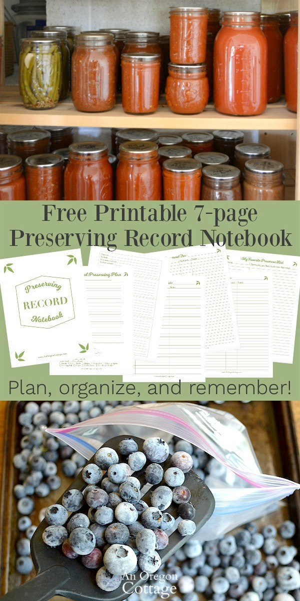 Free printable preserving record notebook to keep track of your canning, freezing, and drying with email signup at An Oregon Cottage