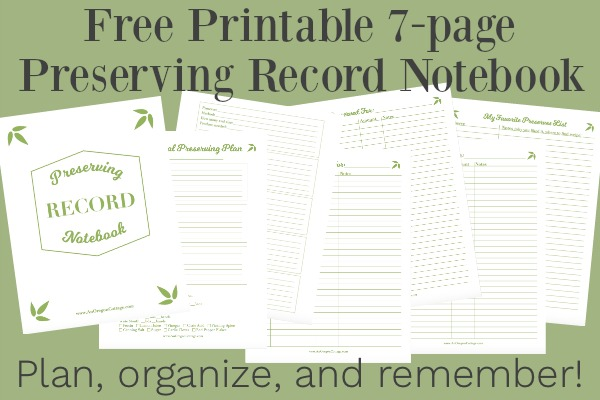 Printable Preserving Record Notebook