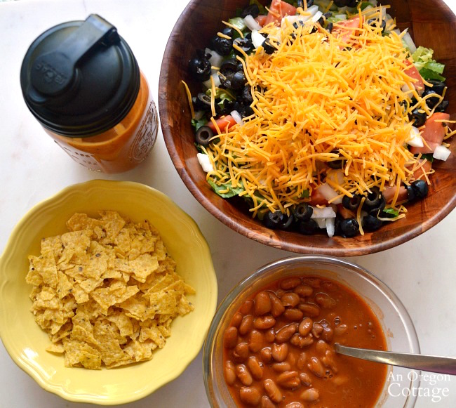 Ingredients for Tex-Mex Salad with Ranch Style Beans