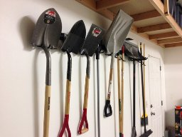 organized snow shovels