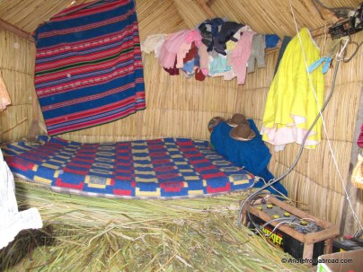 Inside a sleeping hut