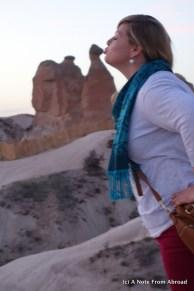 Ashley kissing the natural camel rock formation
