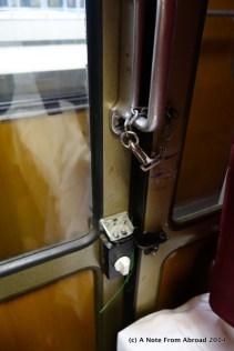 Lock on the train compartment door