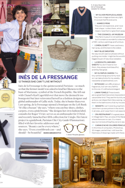 Ines de la Fressange in Elle Decor