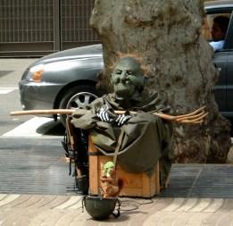 Bizarre human statue.Las Rambla