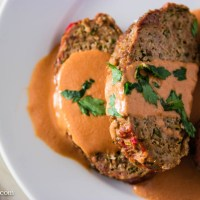 German Meatloaf with Roasted Tomato and Onion Gravy (Falscher Hase)
