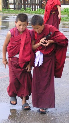 Novice monks, Bumthang monastery, Bhutan