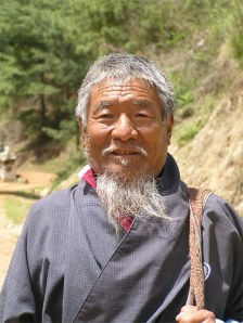 Pilgrim, on road to Punakha, Bhutan