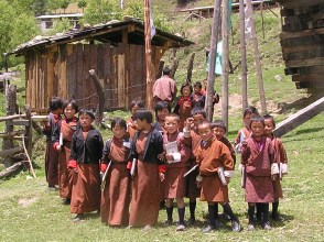 Break at a village school, near Lobeysa, Bhutan