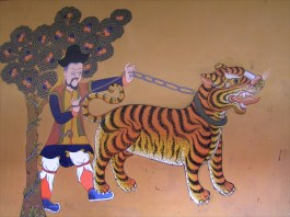 Tiger in a mural in Thimphu, Bhutan