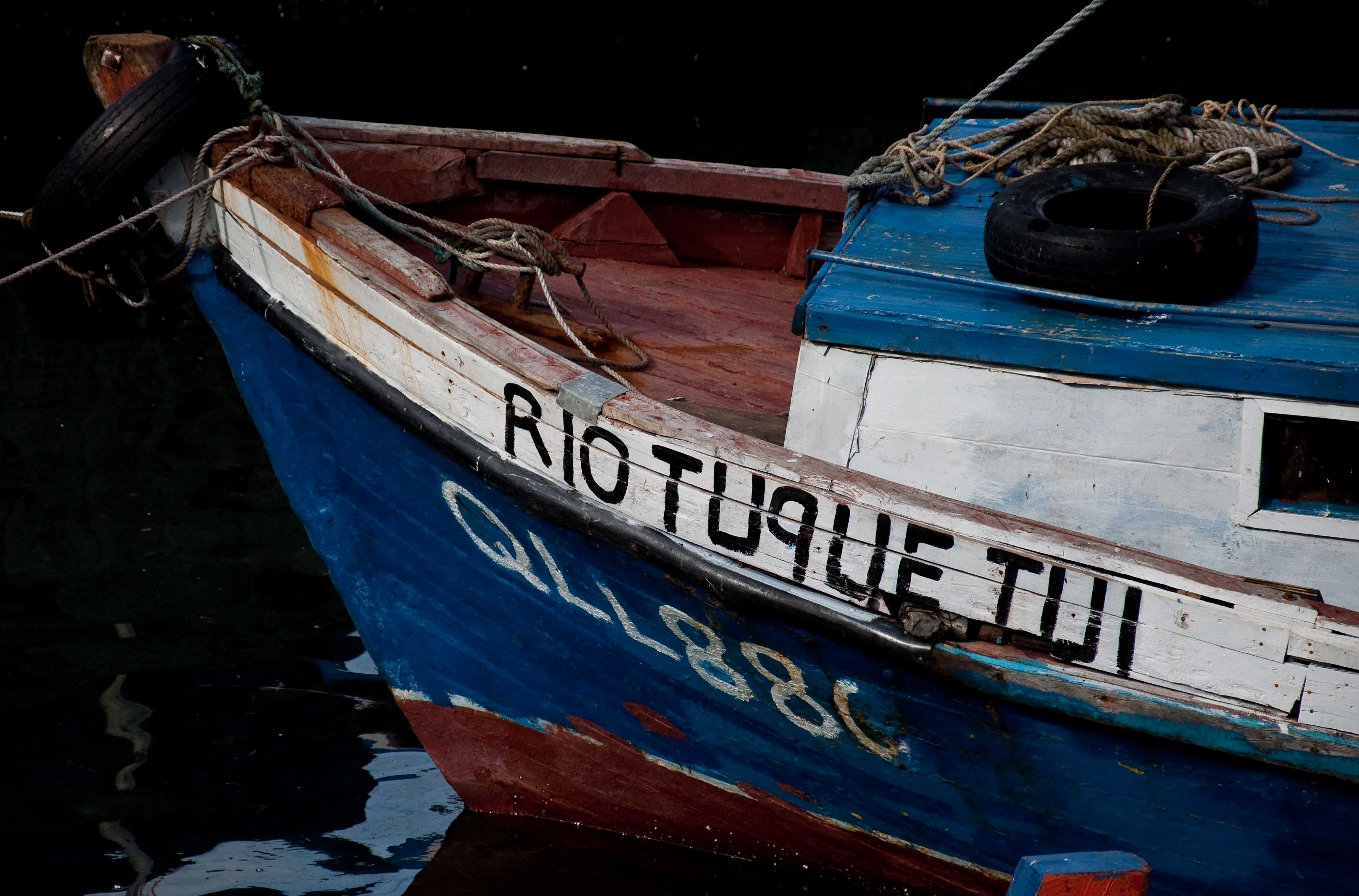 A fishing boat in the harbor at Puerto Montt
