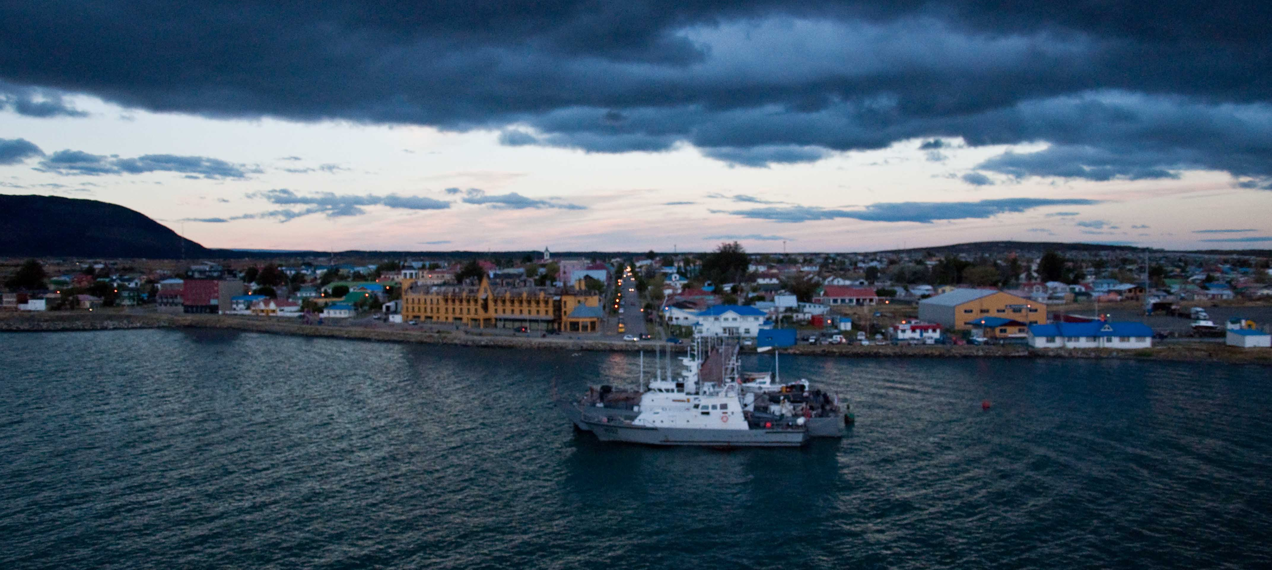 Puerto Natales in the setting sun