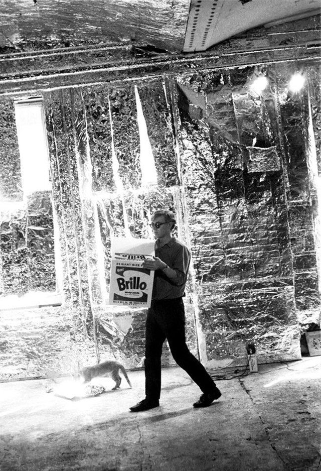 Andy Warhol with Brillo Box and Ruby the cat, 1964