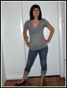 I think this picture was taken on the last day of BlogHer '12. I had bangs. And wore comfy clothes and shoes.