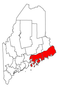 The red represents Downeast Maine. Photo Source: Wikipedia