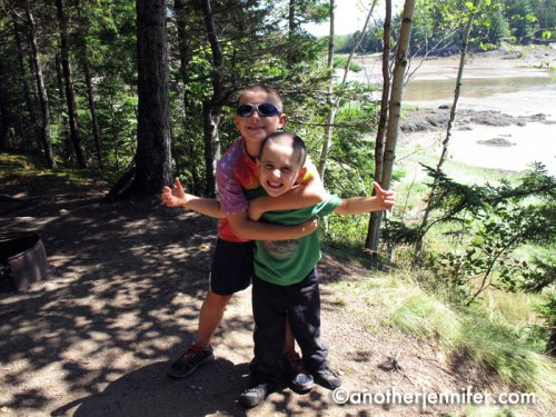 Their favorite part of camping? Throwing rocks into the ocean and peeing on the campfire to put it out.