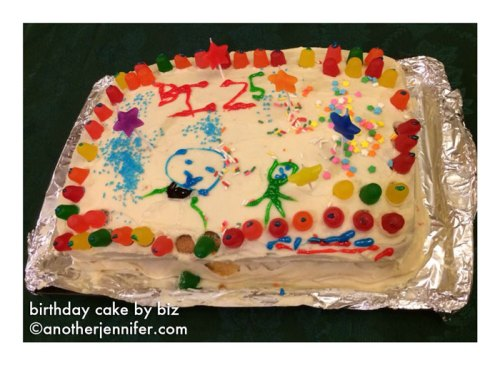Wordless Wednesday (12.3.13): Birthday Cake by Biz (age 5)