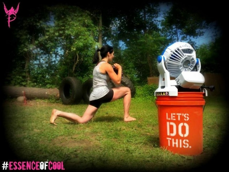 Walking lunges with a 1/2 cinder block are more fun when you are getting cooled down by a misting fan.