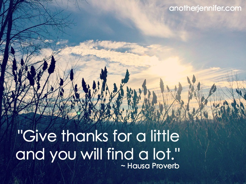 """""""Give thanks for a little and you will find a lot."""" ~ Hausa Proverb"""