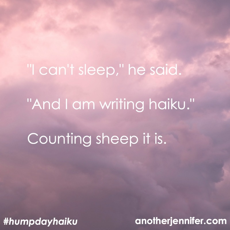 """I can't sleep,"" he said. ""And I'm writing haiku."" Counting sheep it is."