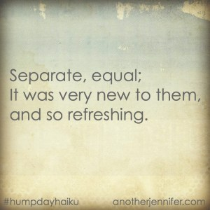 Hump Day Haiku: Separate, Equal