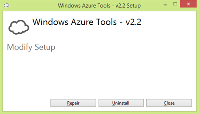 Azure Tools Modify Setup dialog