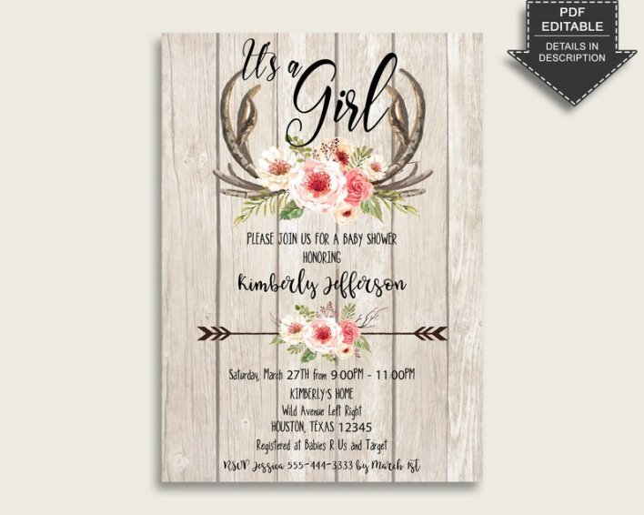 Boho Antlers Baby Shower Themes For Girls
