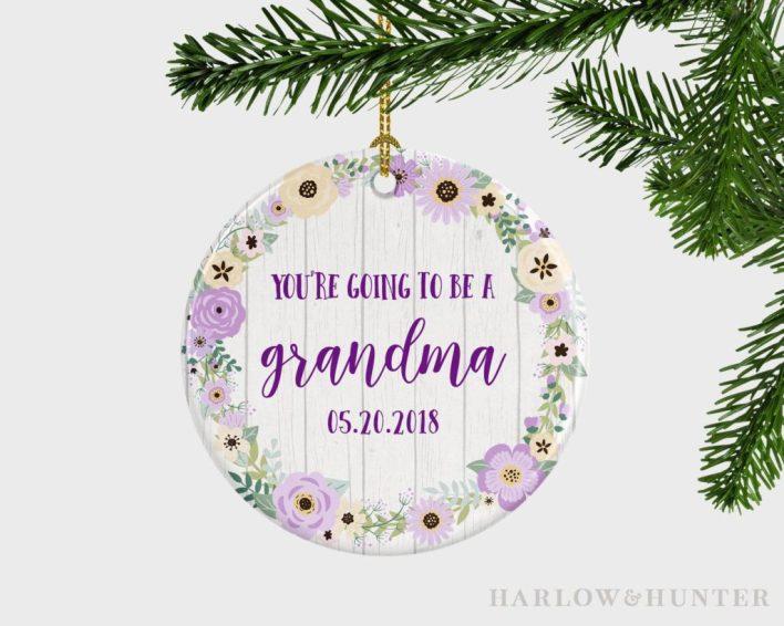 Pregnancy announcement grandparents ornament