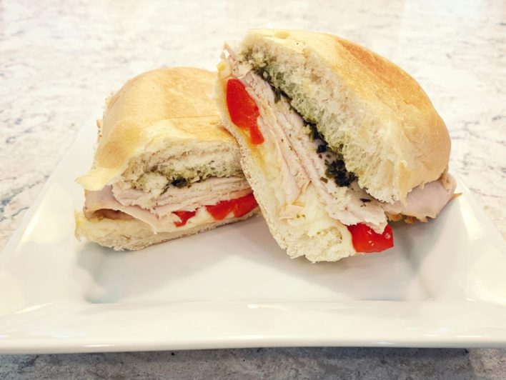 Baked turkey pesto sandwich