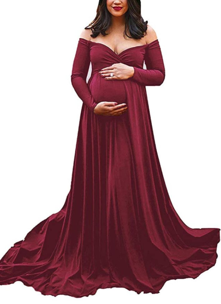 Long Sleeve Red Maternity Gown